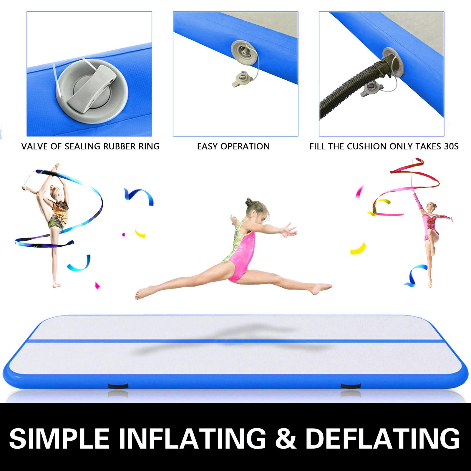 Gepco 5M Tapis de Gymnastique Air Piste Mat Tumbling Gonflable Bleu Gris