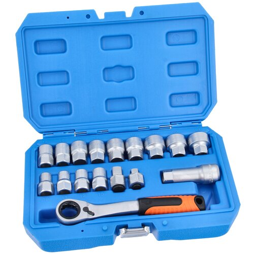 Go-Through Socket Set 10-24 mm with Reversible Ratchet 19...